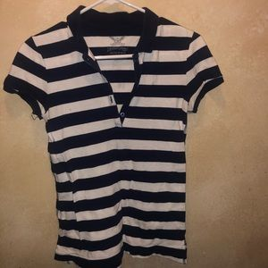 Faded Glory striped blue and white polo shirt